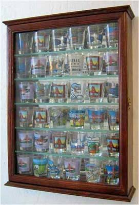 36 Souvenir Shot Glass Display Case Shadow Box Wall Mount...
