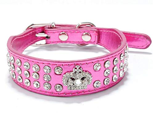 (haoyueer Rhinestone Dog Collar Crown Rhinestone Diamante Jewelry Crystal PU Leather Pet Dog Cat Puppy Collar(Hot Pink,S))