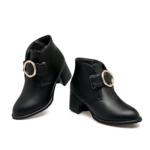 AN Urethane amp;N Bridal Closure Kitten Closed A Toe Warm Smooth Womens Top Boots No Leather Black DKU01790 Boots Lining Heel Water Resistant Low Bootie rr5pqwR