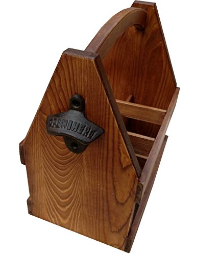 Wooden Beer Caddy - Handcrafted Bottle Carrier with Opener Holds a 6 Pack - Made of Pine with a Clear Varnish