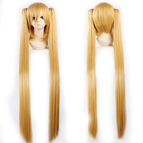 Wig 100cm / 40 inch Cosplay Anime Vocaloid Hatsune Miku Wig 7 Colors with 2 Clip on Ponytails Removable Japanese Kanekalon Long Straight Synthetic Wig +Stretchable Elastic Wig Net (Golden (Spiky Blonde Wig)