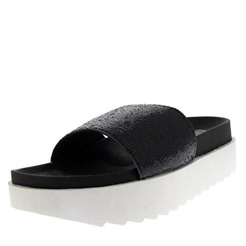 Viva Womens Platform Glitter Strap Slip On Summer Fashion Sandals Shoes Black lwZs6z6ZP