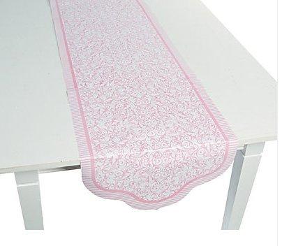 Rosa boda camino de mesa de papel de impresión de desplazamiento ...