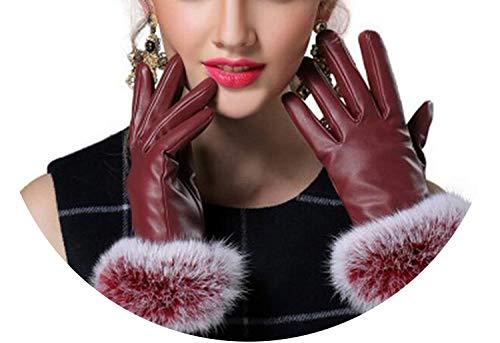 Fashion Lady Black PU Leather Gloves Autumn Winter Warm Rabbit Fur Female Gloves Guanti Invernali Donna,Burgundy,M