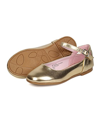 Girls Metallic Leatherette Ankle Strap Cut Out Ballet Flat GB36 - Gold (Size: Toddler 8) by Little Angel (Image #3)