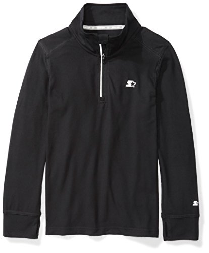 Starter Boys' Long Sleeve Quarter-Zip Top, Amazon Exclusive, Black, M (8/10)