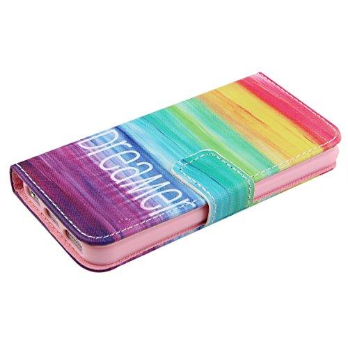 Funda para iPhone 6 6s, Flip funda de cuero PU para iPhone 6 6s, iPhone 6 6s Leather Wallet Case Cover Skin Shell Carcasa Funda, Ukayfe Cubierta de la caja Funda protectora de cuero caso del soporte b sueño colorido