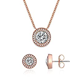 SNZM Jewelry Set for Women Rose Gold Cubic Zirconia Crystals Necklace and Sterling Silver Earrings Set for Wedding