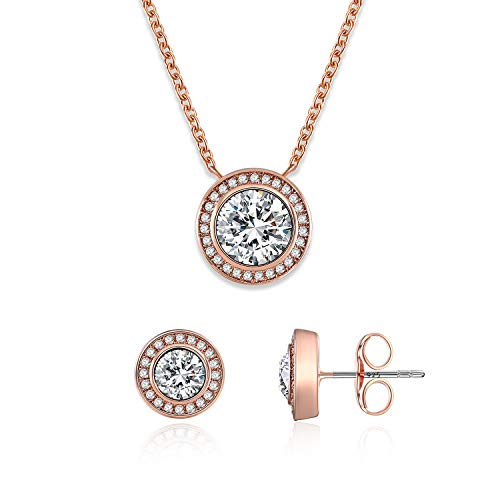 SNZM Jewelry Set for Women Rose Gold Pendant Necklace and Stud Earrings Set Jewelry Gifts for Mother's Day, Wedding, Birthday - Set Necklace Pendant Jewelry