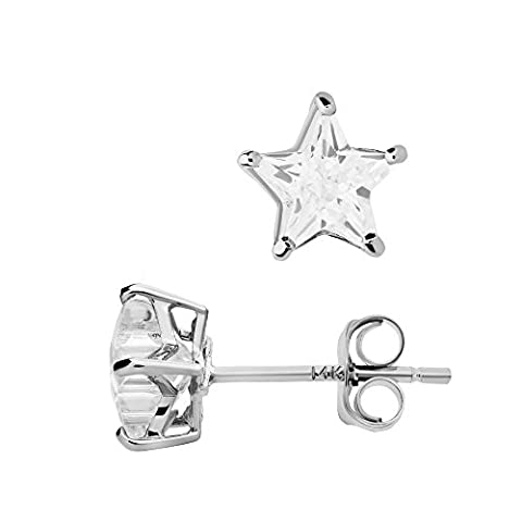 14K White Gold Basket Set Star-Shaped CZ Cubic-Zirconia Solitaire Stud Earrings 4, 5, 6 MM (4 (14k White Gold Star)