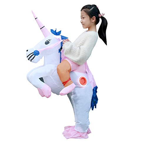 Linsion Unicorn Costume Inflatable Suit Halloween Cosplay Fantasy Costumes Adult/Kids(Child) -