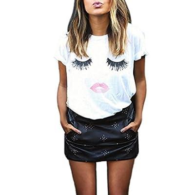 Creazy Womens Ladies Eyelash Printing Summer Loose Tops Short Sleeve Blouse T Shirt