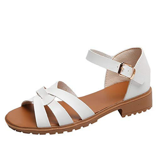 (JJLIKER Women Strappy Cut Out Buckle Ankle Strap Low Heel Rubber Sandals Summer Casual Fashion Slip-Ons Flats White)