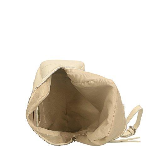 Chicca Borse Bolsa Mochila en Piel genuina 24x25x13 Cm Beige