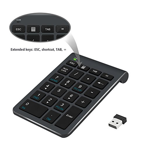 2.4G Number Pad, Alcey Wireless 22 Keys Multi-Function Numeric Keypad Keyboard with 2.4G Mini USB Receiver for Laptop/Desktop/PCs/Notebook, Cool Gray - Multifunction Wireless Usb