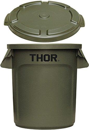 トラスト ソーラウンドコンテナ 38L Trust THOR Round Container [ オリーブドラブ / フタ付き ] B078NWGCRS