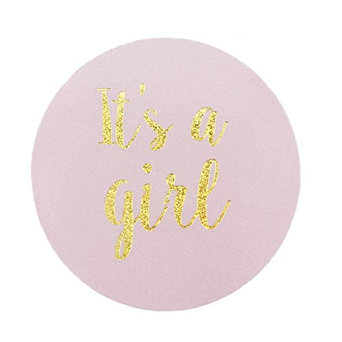 Pink Gold Glitter It's A Girl Baby Shower Stickers, 2 Inch Party Favor Sticker Labels, 40- Pack (Stickers Girl Glitter)