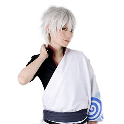 Cool Mens Boys Short Straight Hair Party Male Heat Resistant Cosplay Wig Silver -