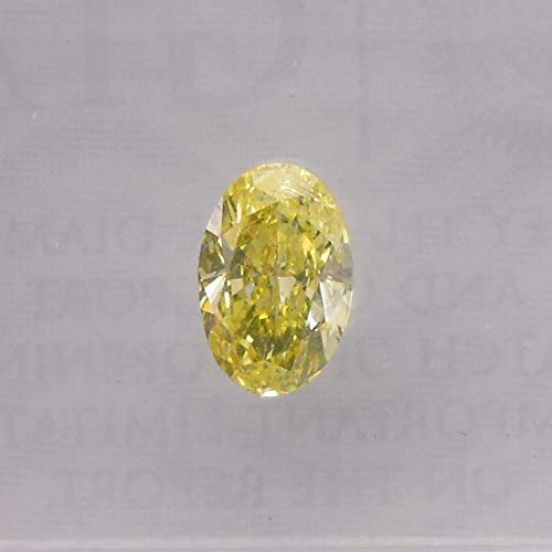0.50 Carat Fancy Intense Yellow Loose Diamond Natural Color Oval Shape GIA Cert