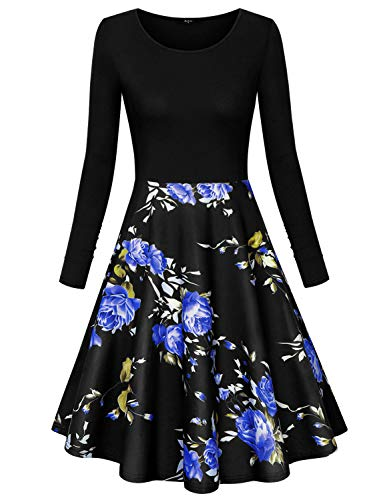 Marbetia 2X Dresses for Women,Black Formal Dresses for Women Elegant Sundresses a-line Dresses High Waist Round Neck Simple Styles Casual Swing Dresses Black X-Large