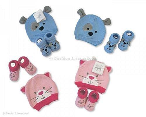 De punto tapa y calcetines zapatillas conjunto para bebé Azul/Rosa - GP-2516