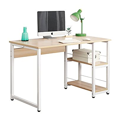 DlandHome 47 inches Medium Computer Desk with 2 Shelves, Wooden Reinforcement Home Office Desk/Workstation/Table, DZ013-OW Maple, 1 Pack - 【Dimensions】: 47.2L * 23.6W * 29.9H inch (120L * 60W * 76H cm), meet the daily needs; Desk weights about 53 lbs (24kg). 【Health & High Quality】: The Plate: Solid wood particle pressing, E1 grade environmental wood without any industrial glue, and 0 formaldehyde release. Metal Frame: Utilizes heavy-duty and powder-coated metal materials, which ensures stability and durability. 【Reasons to Purchase】: Bulid in 2 shelves, enough to place your books, laptop, tablet. Completely solve the problem of storage to ensure enough desktop space; Ultra-thick desktop and pipe structure which is more Strong, Durable, and Steady. - writing-desks, living-room-furniture, living-room - 41ZvpKWIYJL. SS400  -