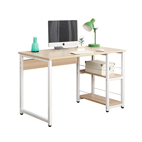 DlandHome 47 inches Medium Computer Desk with 2 Shelves, Wooden Reinforcement Home Office Desk/Workstation/Table, DZ013-OW Maple, 1 Pack - 【Dimensions】: 47.2L * 23.6W * 29.9H inch (120L * 60W * 76H cm), meet the daily needs; Desk weights about 53 lbs (24kg). 【Health & High Quality】: The Plate: Solid wood particle pressing, E1 grade environmental wood without any industrial glue, and 0 formaldehyde release. Metal Frame: Utilizes heavy-duty and powder-coated metal materials, which ensures stability and durability. 【Reasons to Purchase】: Bulid in 2 shelves, enough to place your books, laptop, tablet. Completely solve the problem of storage to ensure enough desktop space; Ultra-thick desktop and pipe structure which is more Strong, Durable, and Steady. - writing-desks, living-room-furniture, living-room - 41ZvpKWIYJL. SS570  -