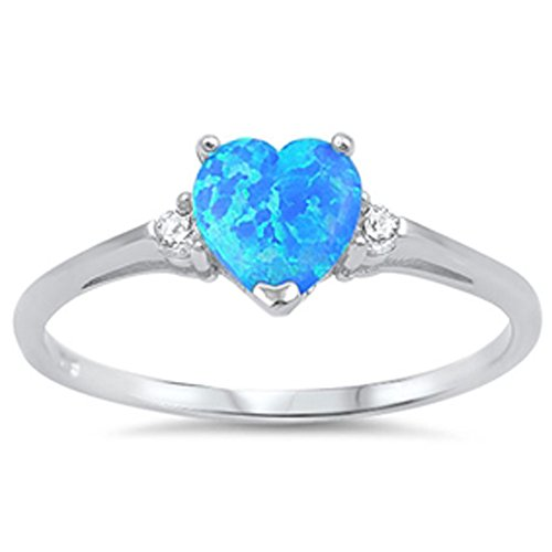 Lab Created Blue Opal Heart & Cz .925 Sterling Silver Ring Size 6 (Diamond Created Opal Heart Ring)