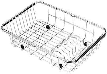 SANNO Expandable Dish Drying Rack Adjustable Rack in Sink Drainer Rustproof