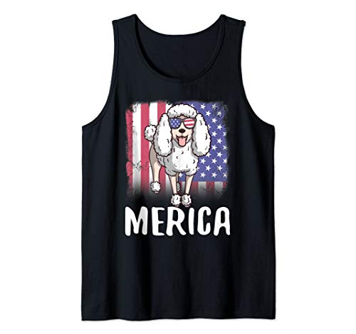 Tank Poodle - Merica Poodle Dog USA American Flag 4th of July Patriotic Tank Top