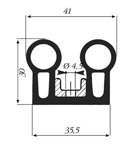 Paella Joint Profil 41x 30mm Noir complète de Bandello de fixation pour porte Cellule vente en boîtes de 2,5mètres