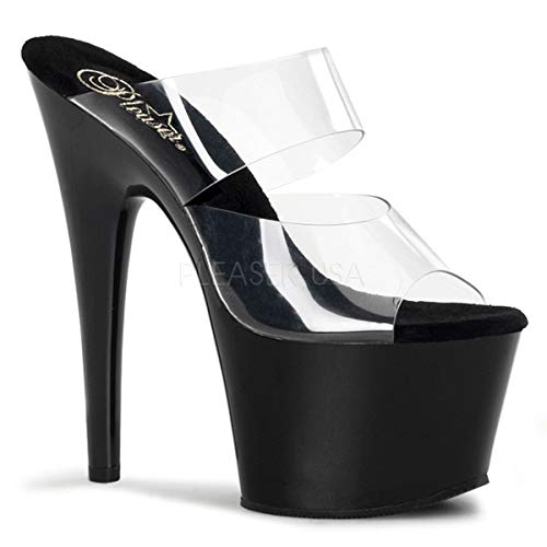 Pleaser Women's Adore-702 Sandal,Clear/Black,7 M US ()