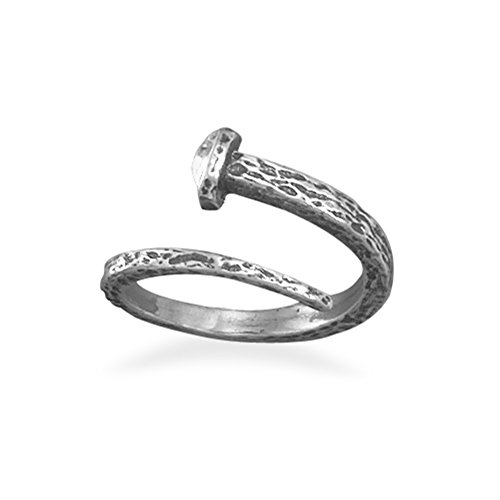 ed Sterling Silver Adjustable Ring, Large (Nail Crucifix)