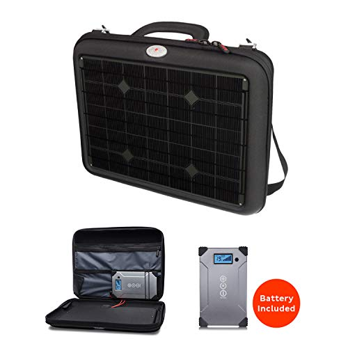 Voltaic Generator Solar Charger Briefcase for Laptops | Includes a Battery Pack (Power Bank) and 2 Year Warranty | Powers Laptops Including Apple MacBook, Phones, More - Charcoal ()
