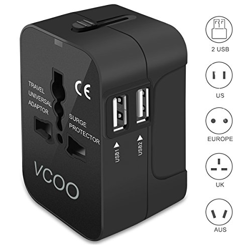 Travel Adapter  Vcoo Worldwide All In One Universal Travel Plug Adapter Ac Power Plug Converter International Wall Charger With Dual Usb Charging Ports For Usa Eu Uk Aus Cell Phone Laptop   Black
