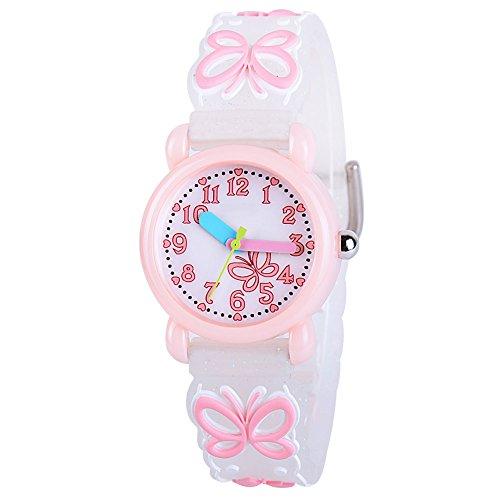 Venhoo Kids Watches Cartoon Waterproof Silicone Children Wristwatches Time Teacher Gifts for Boys Girls (Blink Pink Butterfly) (Woman Wrist Pointer Watch)
