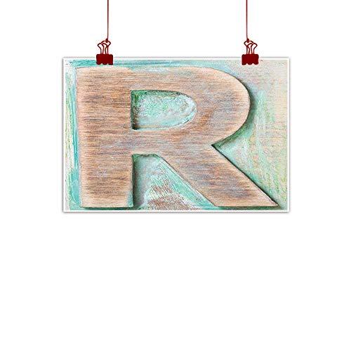 - Home Wall Decorations Art Decor Letter R,Wooden Alphabet Block Antique Letterpress Theme Grunge Display Print,Mint Green Pale Brown 36