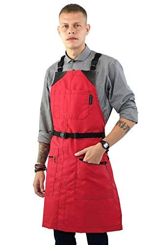 Under NY Sky Cross-Back Barber Red Apron – Heavy-Duty Nylon, Water and Chemical Resistant, Zipped Pockets, No-Tie, Split-Leg – Adjustable for Men, Women – Pro Hair Stylist, Salon, Colorist, Artist ()