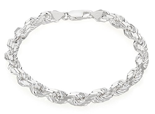 7mm Real 925 Sterling Silver Nickel-Free Diamond-Cut Italian Rope Chain Bracelet, 8 inches + Bonus Cloth