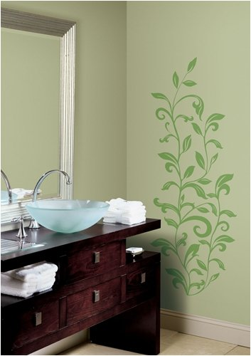 Green Leaf Scroll Wallpaper (RoomMates RMK1164GM Leaf Scroll Peel & Stick Wall Decals)