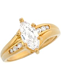 14k Solid Yellow Gold 18ct Marquee CZ Engagement Ladies Ring
