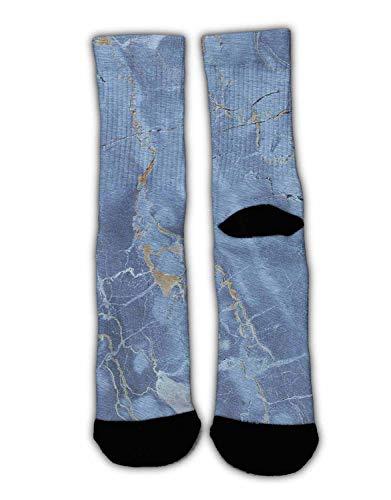 - MrDecor Unisex 3D Socks Light Blue Marble Texture Adult One Size Crazy Tube Funny Novelty Cotton Stockings