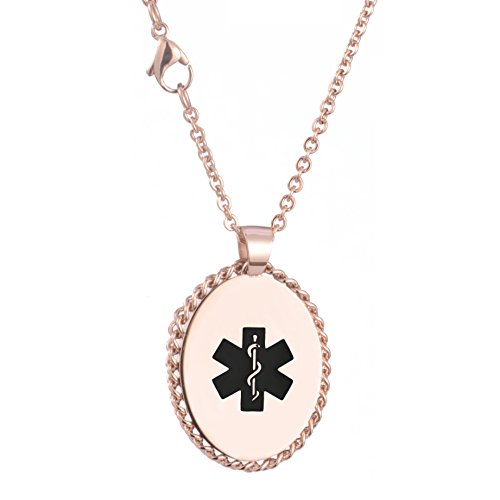 linnalove Rose Gold Oval Medical ID Necklace for Women with Free Engraving ()