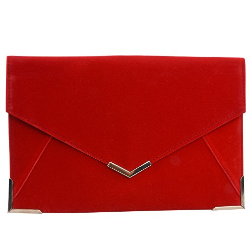 Red Shoulder Bag Purse (Velvet Envelope Clutch Large Evening Bag Women Bag Metal-Trim Shoulder Bag,Wedding Clutch Bag Purse (Red))