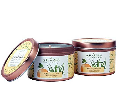 Aroma Naturals Tin Candle with Orange and Lemongrass Essential Oil Natural Soy Scented, Ambiance, 2 Count