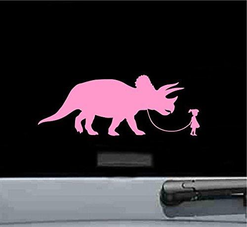 JS Artworks Girl Walking A Triceratops Dinosaur Vinyl Decal Sticker (Soft Pink)
