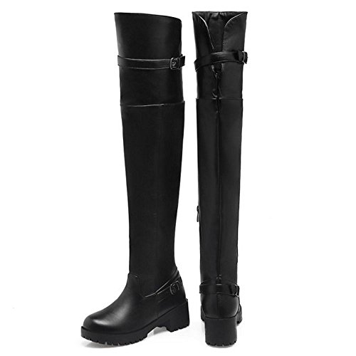 Tall Knee Taoffen Femmes Pu Talon High Black Eclair Bloc Bas Thigh Fermeture Bottes Over 8E8rqdxw