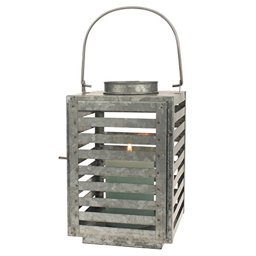 Stonebriar Antique Slated Galvanized Metal Candle Lantern, Use As Decoration for Birthday Parties, a Rustic Wedding Centerpiece, or Create a Relaxing Spa Setting, Indoor or Outdoor Use - French Outdoor Lantern