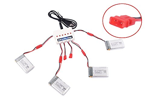 YouCute 4pcs 3.7V 780mAh Battery and 1to6 Charger for syma X5hc X5hw RC Quadcopter Drone Spare Parts