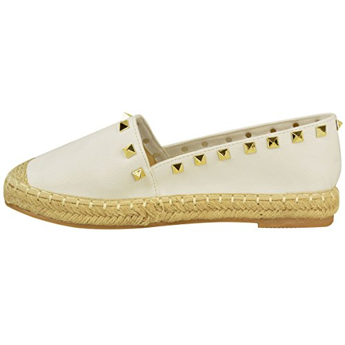 Flat Size Studded Faux Espadrilles On Womens Thirsty Summer Sandals Casual Shoes Fashion Leather Slip White Plimsolls wBz7q6BI